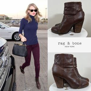 """Rag and Bone Brown Leather """"Newbury"""" Ankle Boots"""